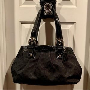 Black Large Coach Purse with gray inside(Like New)